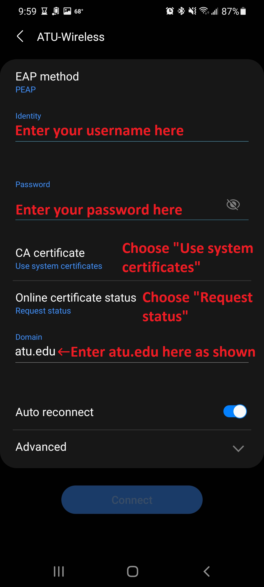 Security settings for a wireless network with labels where information needs to be added or changed