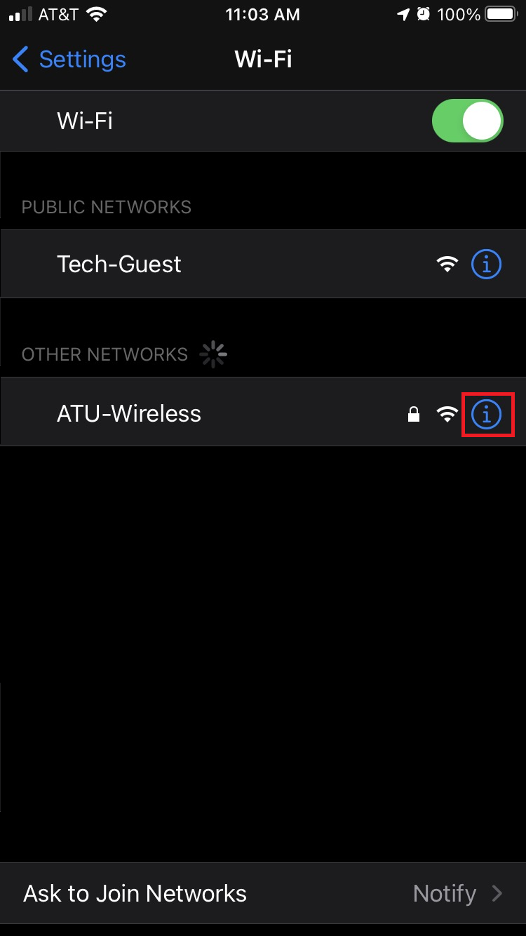 Wireless menu on Apple mobile with the information button highlighted next to a wireless network.