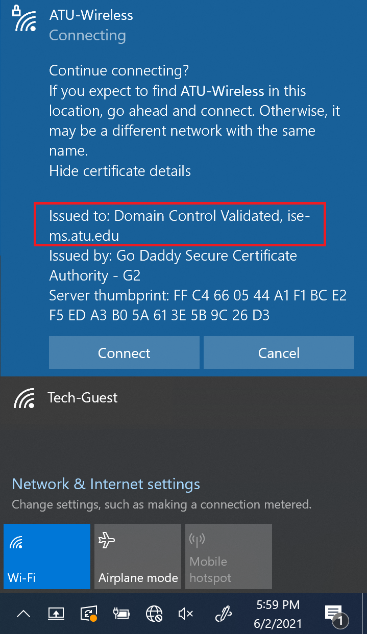 Expanded certificate prompt on Windows 10