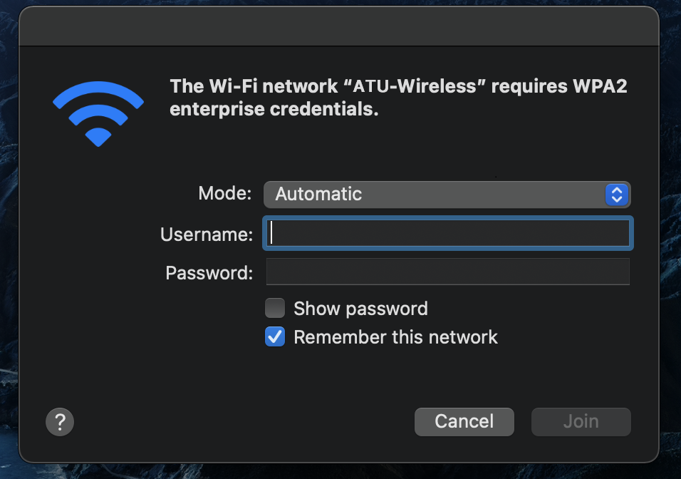 Popup on Mac OS to enter user credentials when connecting to an 802.1x wireless network.